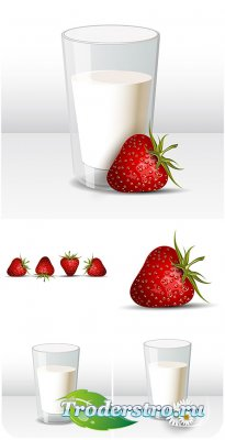 Молоко и клубника в векторе / Milk and strawberry vector