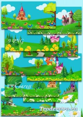 Набор детских фонов со сказочными нарисованными замками, цветами, деревьями