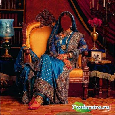 Девушка в красивом наряде Индии - Шаблон женский