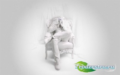 Шаблон psd - На кресле в белом костюме