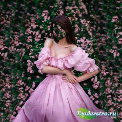 Шаблон для фотомонтажа - В розовом платье на фоне цветов