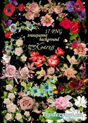 Набор цветочных кластеров на прозрачном фоне - Такие разные цветы