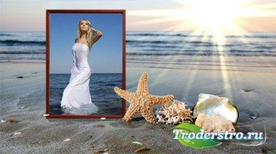 Фоторамка - Песчаный пляж на закате