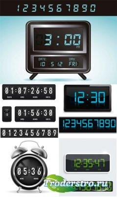 Электронные часы в векторе