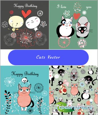 Backgrounds, patterns couples kittens (Vector)