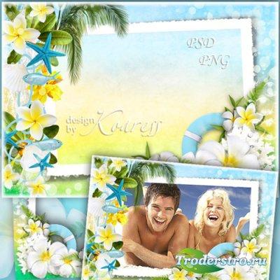 Летняя рамка для фото с тропическими цветами, ракушками, рыбками - Летний о ...