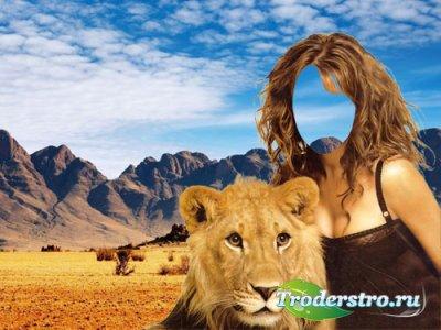 Шаблон для фото - В обнимку с красивым львом