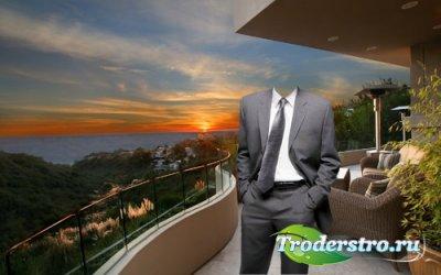 Шаблон для фотомонтажа - Прекрасный закат на своей террасе