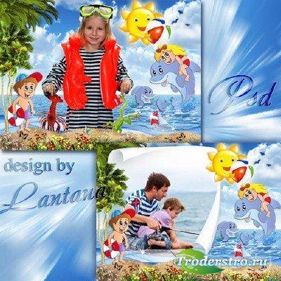 Детский PSD исходник - Летние каникулы у моря