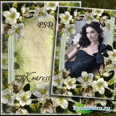 Романтичная рамка для фото - Белые цветы на старинном фото