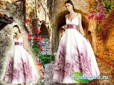 Женский шаблон - В шикарном белом платье с цветами
