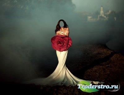 Женский шаблон PSD - Фотосессия в привлекательном платье с розой