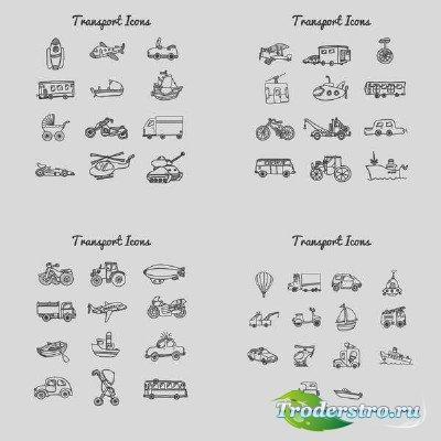 Коллекция детских транспортных иконок в векторе