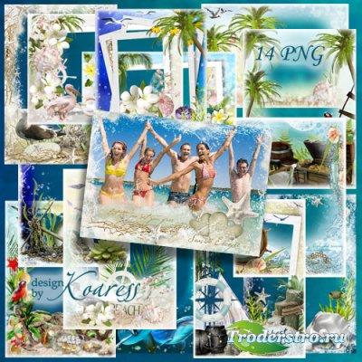 Сборник летних морских png рамок для фотошопа - Ласковое море, чайки над во ...