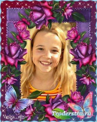 Детская рамка с розами и бабочками - Дети цветы жизни