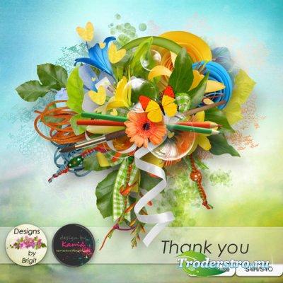 Яркий цветочный скрап-комплект - Благодарю