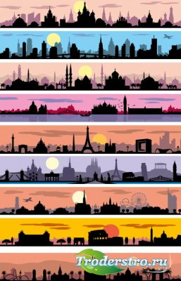 City silhouettes colored vector