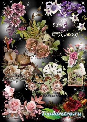 Набор винтажных кластеров для фотошопа с цветами, листьями, бабочками - Сло ...