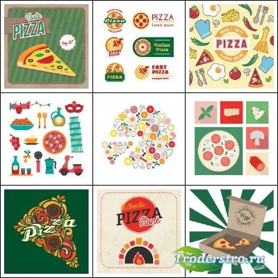 Аппетитная пицца и логотипы к ней в векторном клипарте