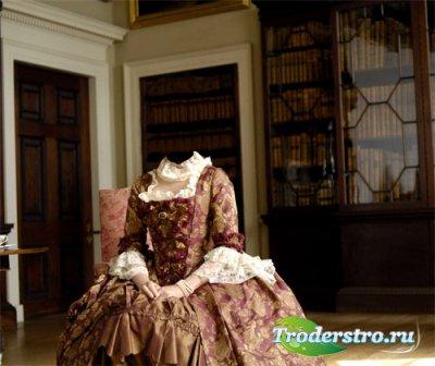 Шаблон женский - Герцогиня в комнате в платье