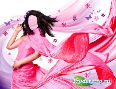 Шаблон для фотошопа - Фотосессия в ярком платье
