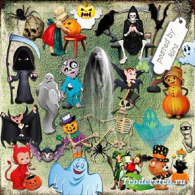 Клипарт к Хэллоуину - Приведения, зомби, вампиры и другие (кроме ведьм)