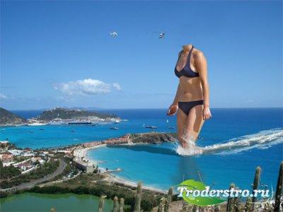 Photoshop шаблон - Большая девушка выходит на берег
