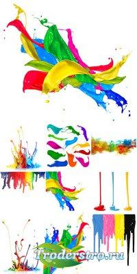 Разлившиеся разноцветные краски - растровый клипарт