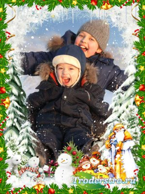 Детская новогодняя рамочка - мчится в санях Новый Год