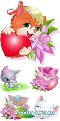Очаровательные мультяшные котики и белочка - векторный клипарт