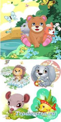 Забавные картинки с животными - векторный клипарт