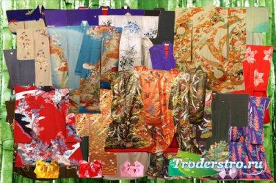 Клипарт Японские кимоно и схема кроя