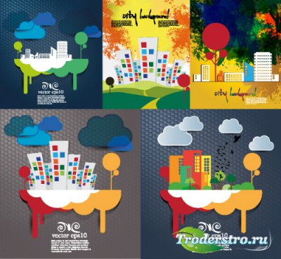 Clipart city silhouettes vector