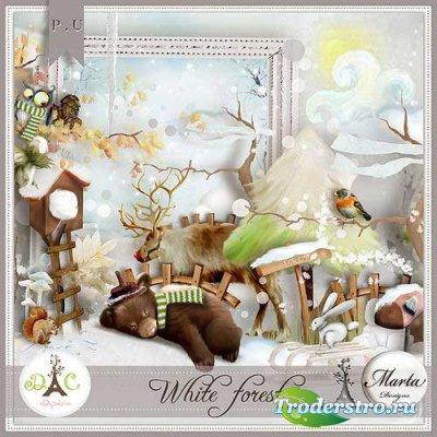 Детский зимний скрап-комплект - Белый лес