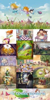Детские иллюстрации - растровый клипарт