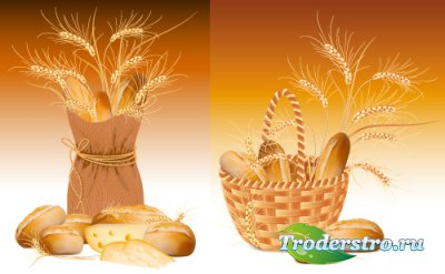 Soft wheat bread and bread in a basket (Vector)