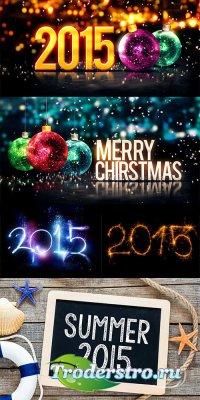 Праздничные новогодние фоны 2015 - растровый клипарт