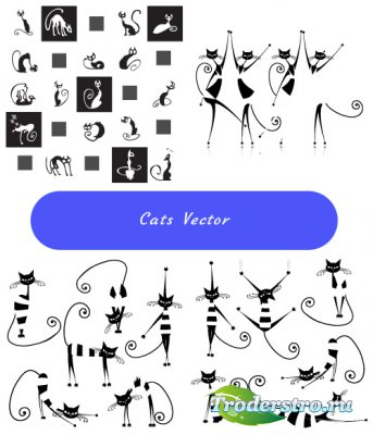 Silhouettes of black and white kittens (Vector)