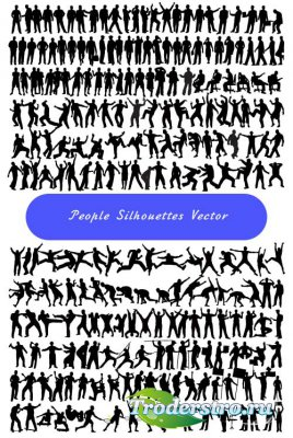 Silhouettes people clipart 2 (Vector)
