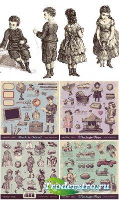 Винтажный детский сборник - векторный клипарт