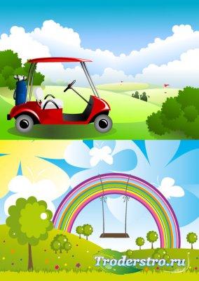 Rainbow backgrounds and golf car Фоны радуга и гольф машина (Вектор)