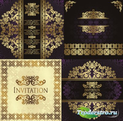 Invitation gold ornament vector