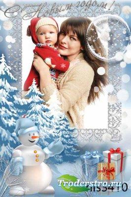 Новогодняя рамка - Снеговик