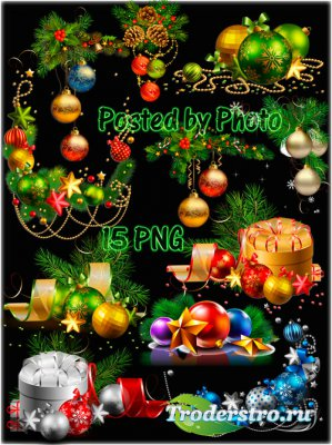 Новогодний клипарт на прозрачном фоне - Ёлочные игрушки, гирлянды, композиц ...