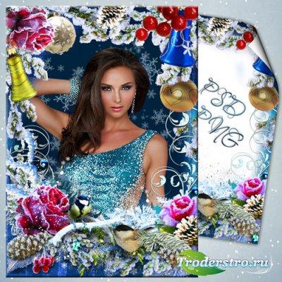 Новогодняя рамочка - Заиндевевшая роза