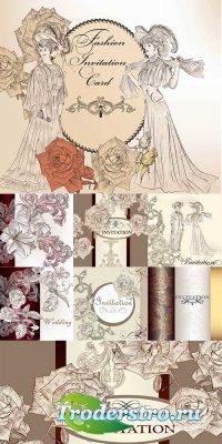 Винтажный сборник с дамами и цветочными узорами - векторный клипарт