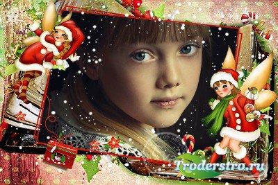 Детская рамка для фотошопа - Зимняя сказка для девочек