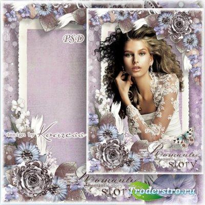 Романтическая рамка для фото с винтажными цветами - Старинное фото
