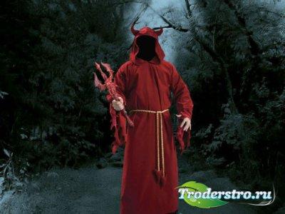 Шаблон для фотомонтажа - Дьявол с трезубцем в руках