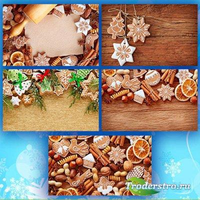 Новогодние фоны, печенье - фотоподборка